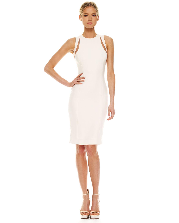 Lyst Michael Kors Illusion Cutout Shoulder Dress In White