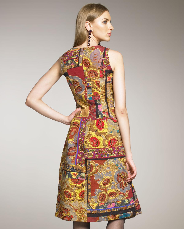Lyst Oscar De La Renta Paisley Patchwork Dress