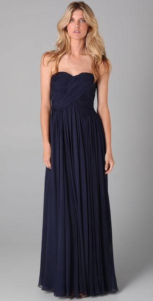 Tibi Strapless Gown in Blue (navy)
