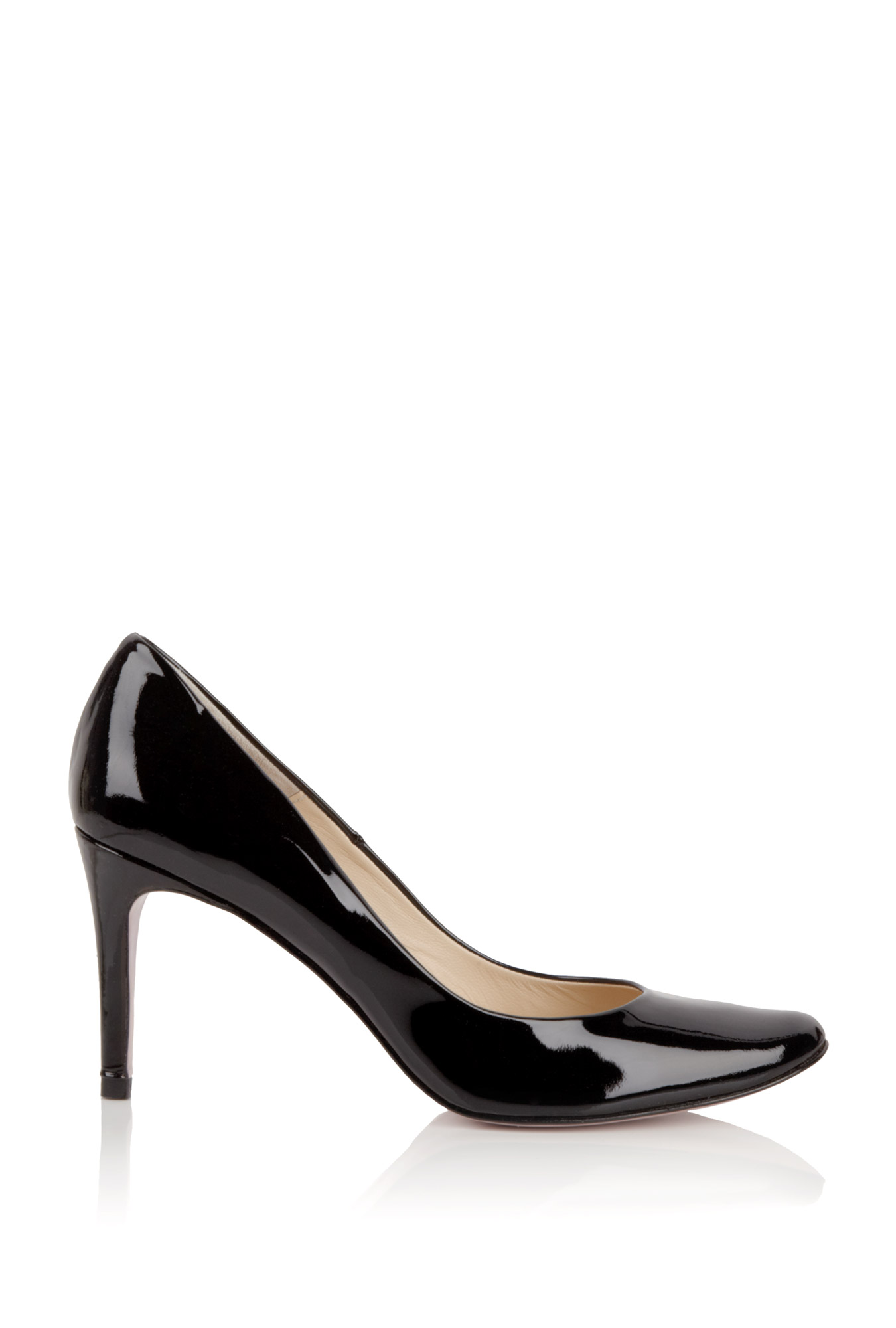 by larin patent black mid heel court in black lyst