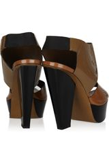 Marni Colorblock Patentleather Sandals in Brown - Lyst