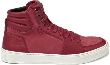 Saint Laurent Suede and Leather High Top Sneaker in Red for Men - Lyst