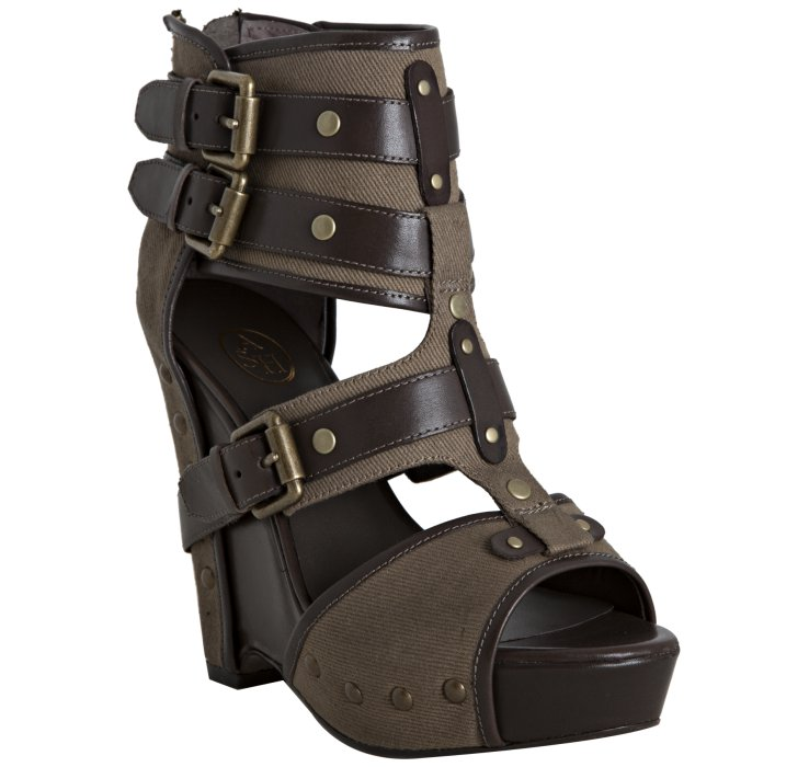 In Military And Sandals Buckle Leather Lyst Ash Wedge Canvas Brown Lyn sthrCQd