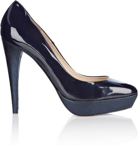 by larin patent metallic platform shoe in blue navy lyst
