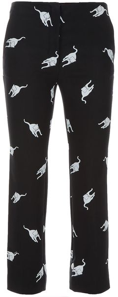 Miu Miu Cat Print Silk Trouser - Lyst
