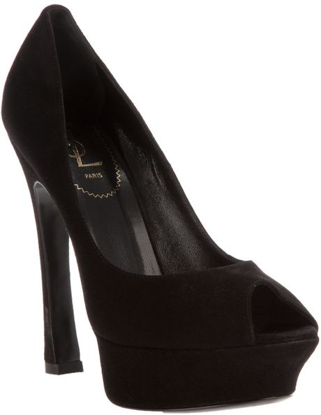Saint Laurent Peep Toe Shoe in Black - Lyst