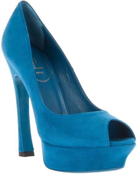 Yves Saint Laurent Peep Toe Shoe in Blue - Lyst