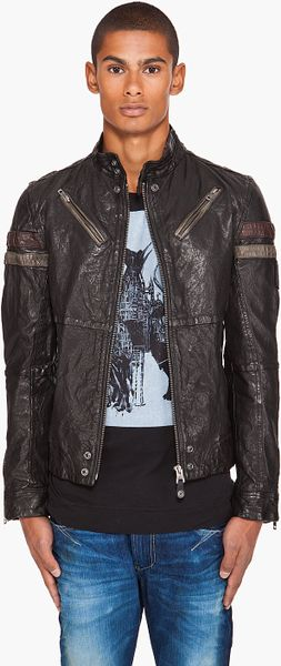Diesel Lujon Leather Jacket in Black for Men | Lyst