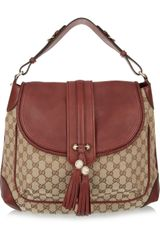 Gucci Monogram Canvas and Leather Shoulder Bag - Lyst