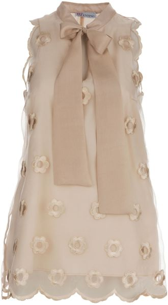 Red Valentino Silk Appliqué Top in Beige (nude) - Lyst