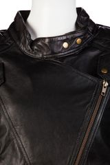 Shakuhachi Leather Paneled Biker Jacket in Black - Lyst