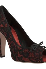 D&G Red Satin and Lace Peep Toe Pumps - Lyst