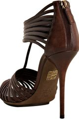 Gucci Brown Leather Strappy Sandals in Brown - Lyst