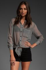 Equipment Daddy Tie Front Blouse - Lyst