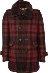 Burberry Prorsum Plaid Pea Coat - Lyst