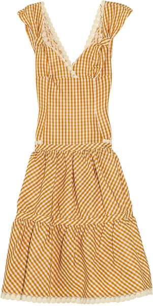 Luisa Beccaria Lace-trimmed Gingham Silk-faille Dress - Lyst