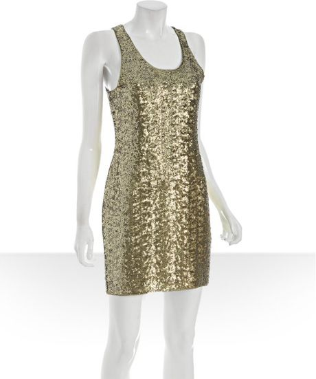 Alice + Olivia Gold Sequin Tank Dress in Gold - Lyst