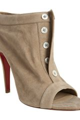 Christian Louboutin Taupe Suede Peep Toe Button Booties