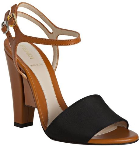 Fendi Black Faille Colorblock Ankle Strap Sandals in Brown (black) - Lyst