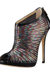 Jimmy Choo Hologram Mesh & Patent Bootie in Multicolor (multi) - Lyst