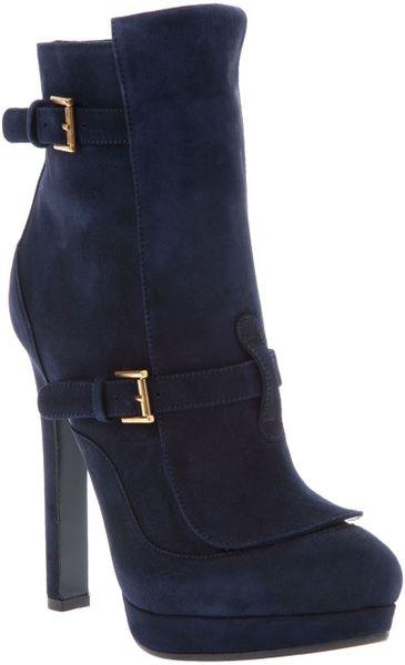mcqueen suede high heel boots in blue navy lyst