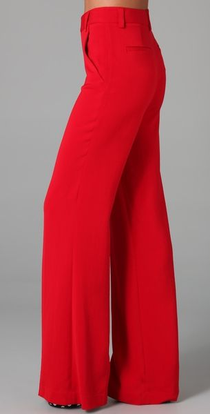Alice Olivia Coral High Waist Pant In Red Lyst