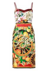 Dolce & Gabbana Silk Scarf Floral and Fruit Print Dress - Lyst