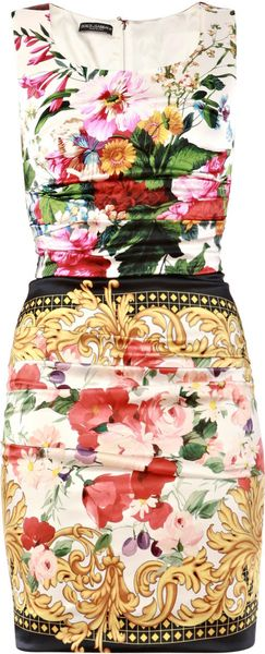 Dolce & Gabbana Silk Scarf Floral Print Dress in Multicolor (multi) - Lyst