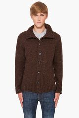 Maison Martin Margiela Brown Wool Cardigan - Lyst