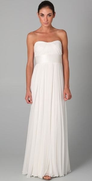 Notte By Marchesa Strapless Chiffon Gown with Pleated Bodice in White - Lyst