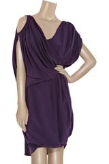Vionnet Draped Crepe De Chine Dress in Purple - Lyst
