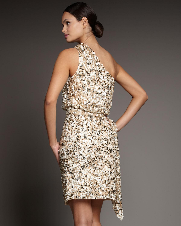 8b49afd4ad5 Aidan Mattox One-shoulder Sequin Dress in Metallic - Lyst