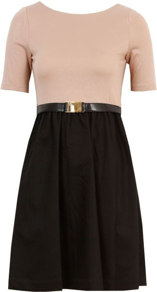 Alice + Olivia Amber 3/4 Sleeve Dress in Pink (black) - Lyst