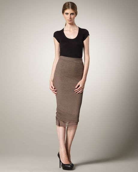 mid calf pencil skirt in brown chestnut