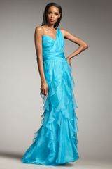 Badgley Mischka One-shoulder Ruffle Gown - Lyst