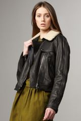 Burberry Brit Shearling-detailed Leather Bomber Jacket - Lyst