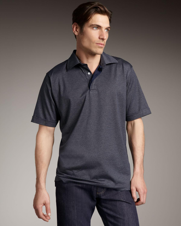 Ermenegildo zegna navy shadow stripe s s polo in blue for for Zegna polo shirts sale