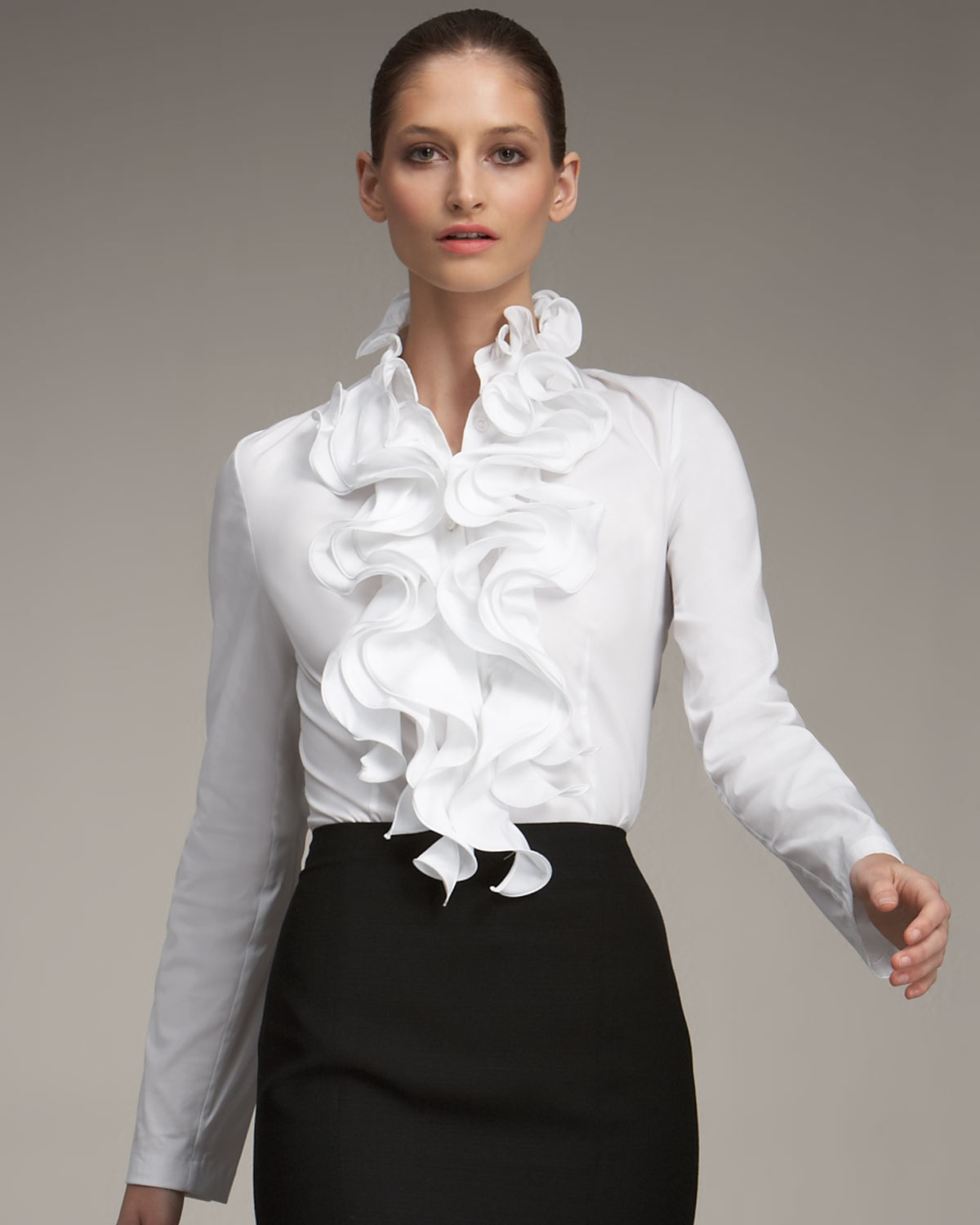 Escada Ruffled Blouse in White | Lyst
