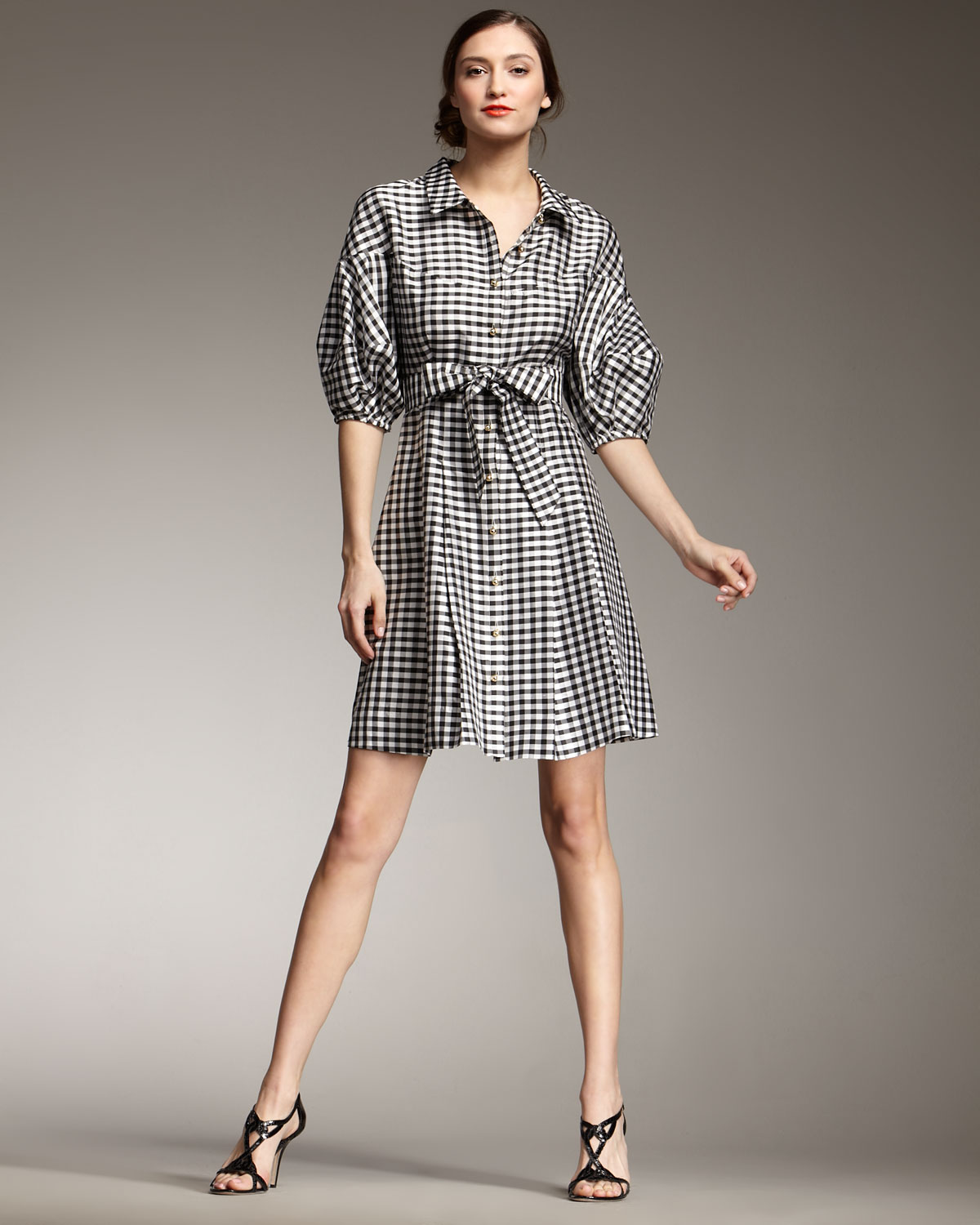 Kate spade new york tracy gingham shirtdress in gray lyst for New york and company dress shirts
