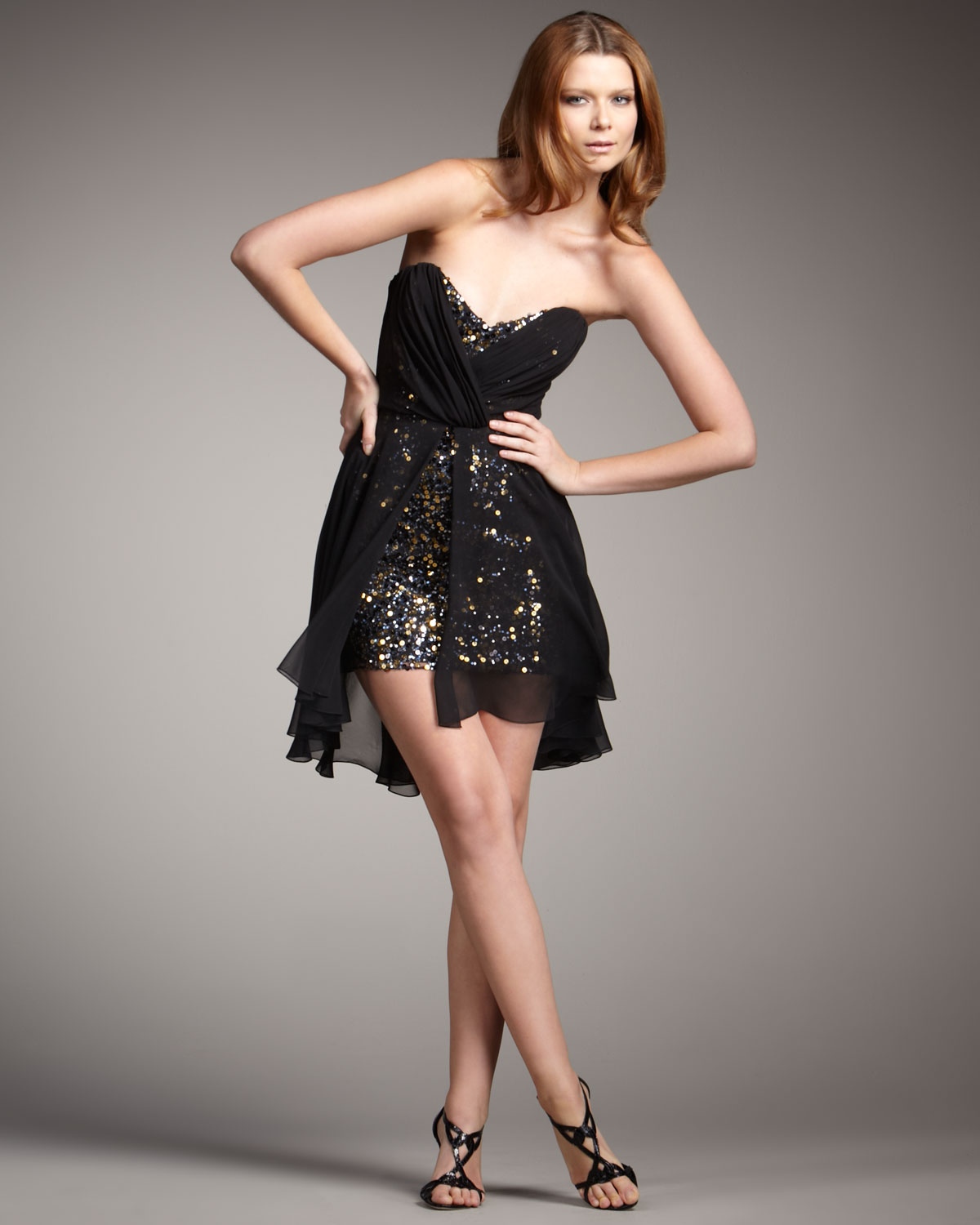 Badgley mischka Chiffon-overlay Strapless Sequin Dress in Black | Lyst