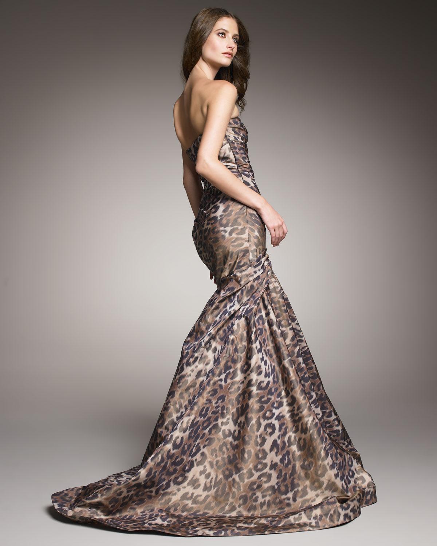 Lyst Monique Lhuillier Leopard Print Trumpet Gown