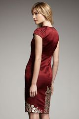 Naeem Khan Floralapplique Satin Dress in Red (burgundy) - Lyst