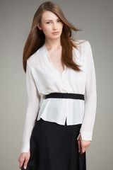 Narciso Rodriguez V-neck Button-front Blouse - Lyst