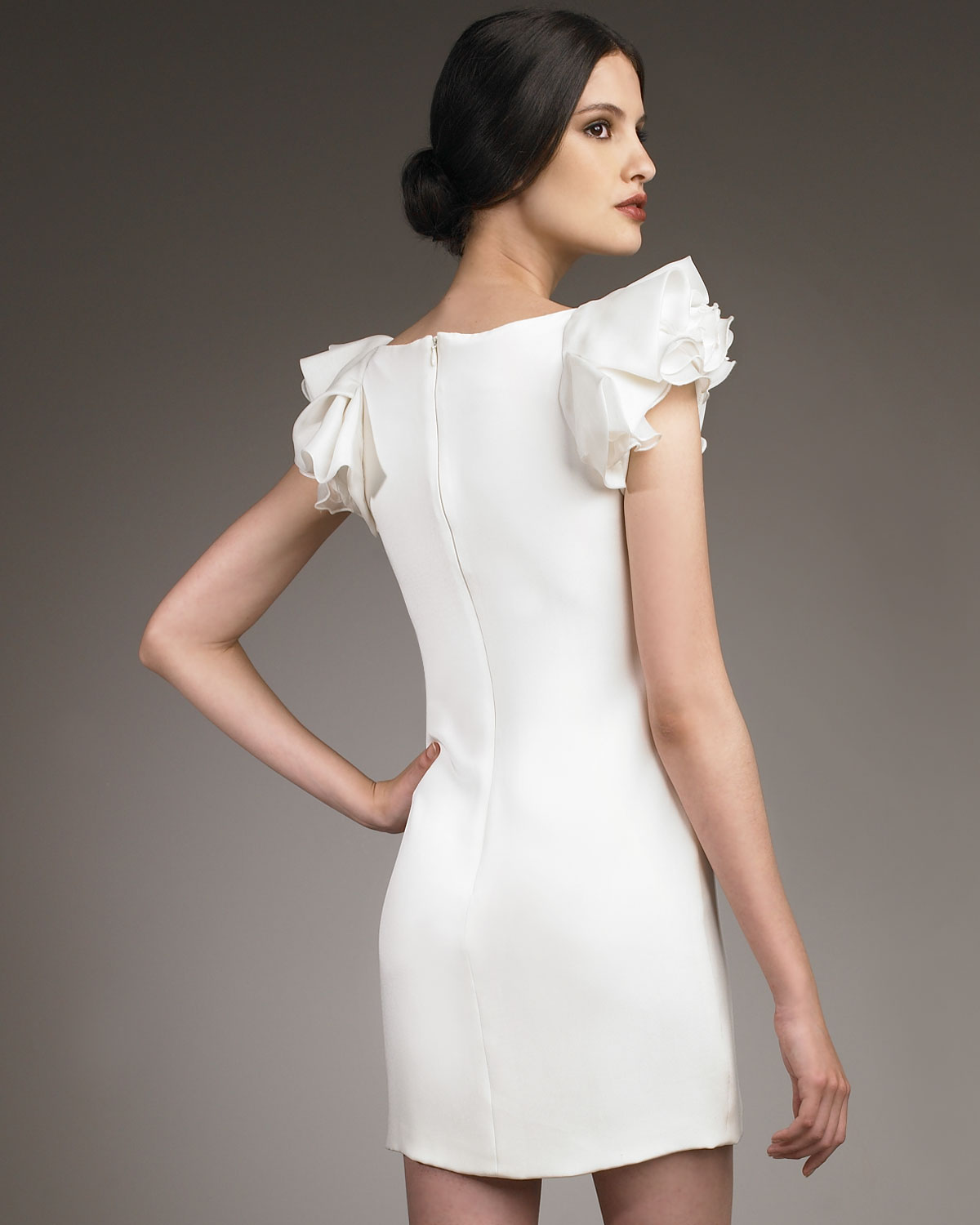 Notte by marchesa Ruffle-sleeve Crepe Shift Dress in White - Lyst
