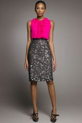 Oscar de la Renta Beaded Pencil Skirt - Lyst