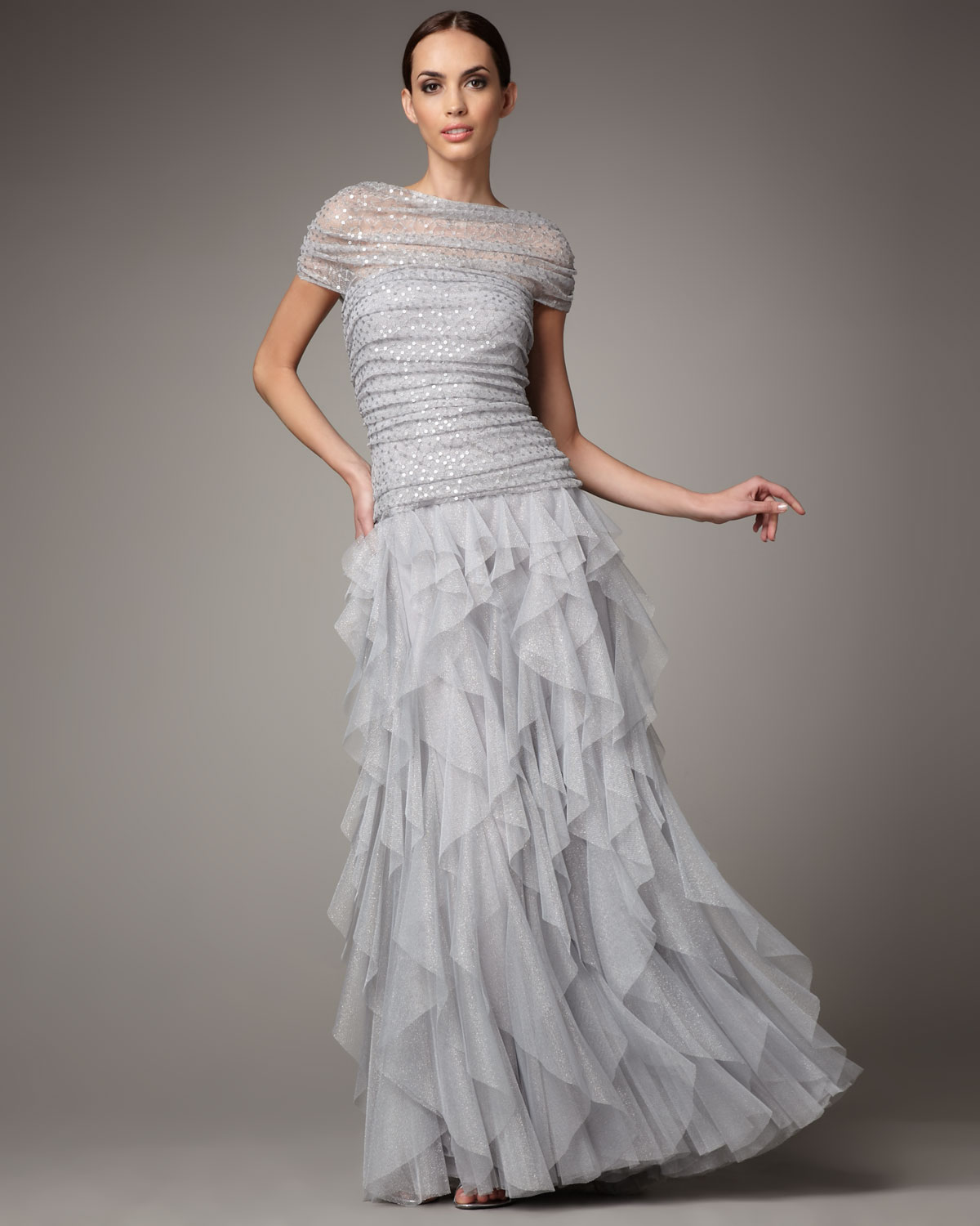 Tadashi shoji shirred sequin tulle gown in gray silver for Silver wedding dresses for sale