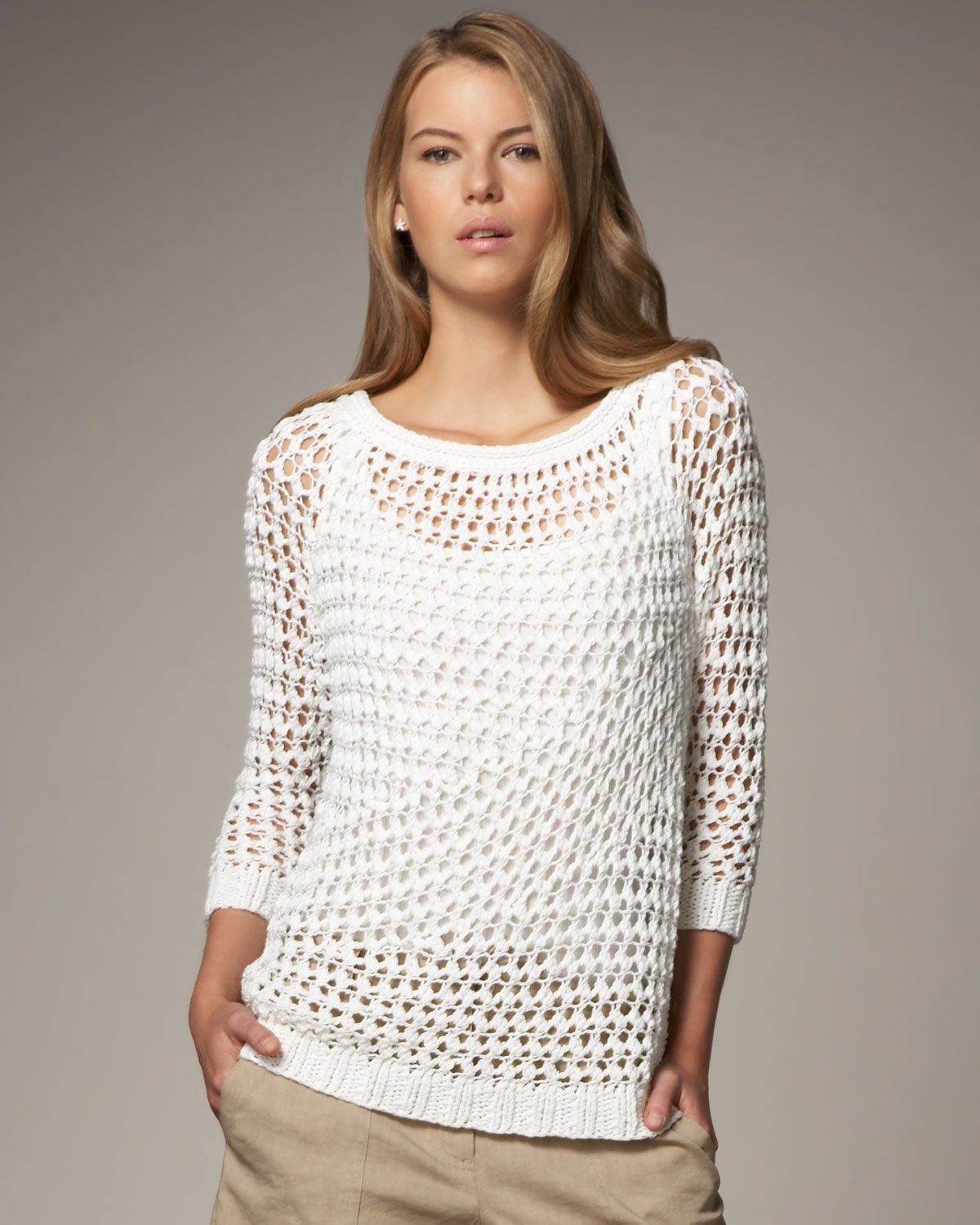 Theory Nimue Crocheted Sweater In White Lyst