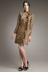 Valentino Leopard-print Leather Coat - Lyst