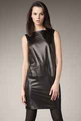 Vince Leather Boat-neck Dress - Lyst