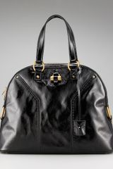 Saint Laurent Crinkled Patent Muse Bag - Lyst